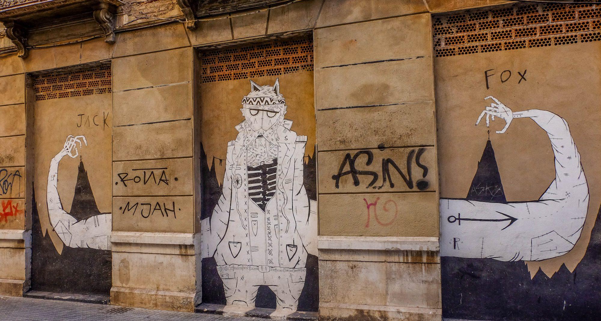 Triptyque sur mur, Street Art - Malaga, Espagne