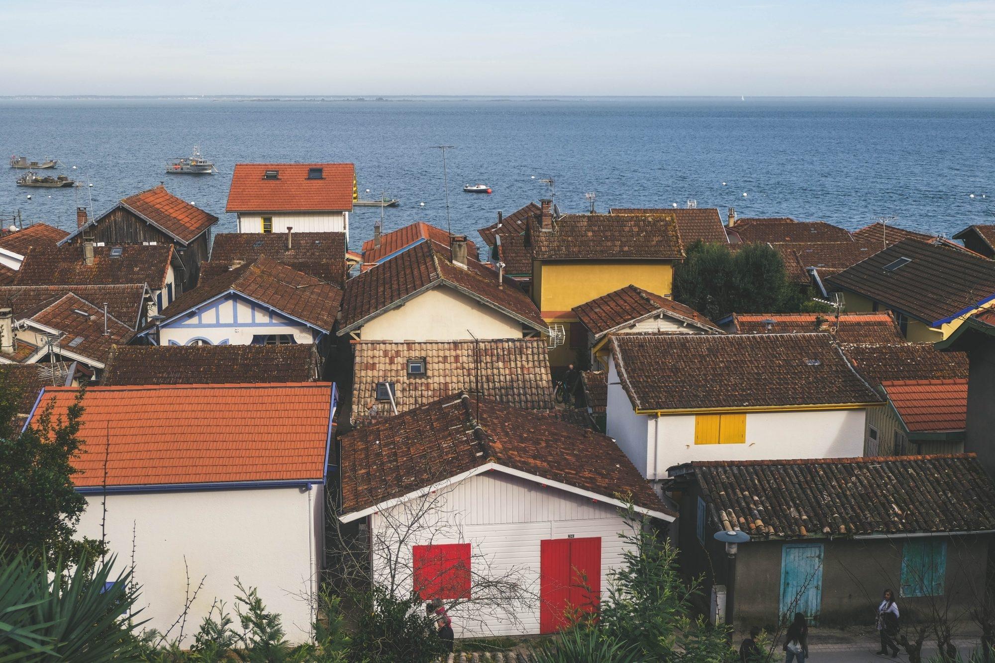 Vue en hauteur sur le village de l'Herbe du Cap Ferret