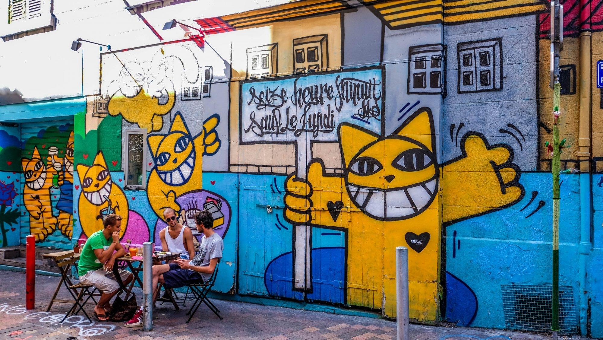 Monsieur Chat Street Art Cour Julien Marseille