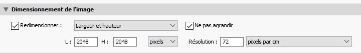 Dimensionnement des images avec un export web lightroom